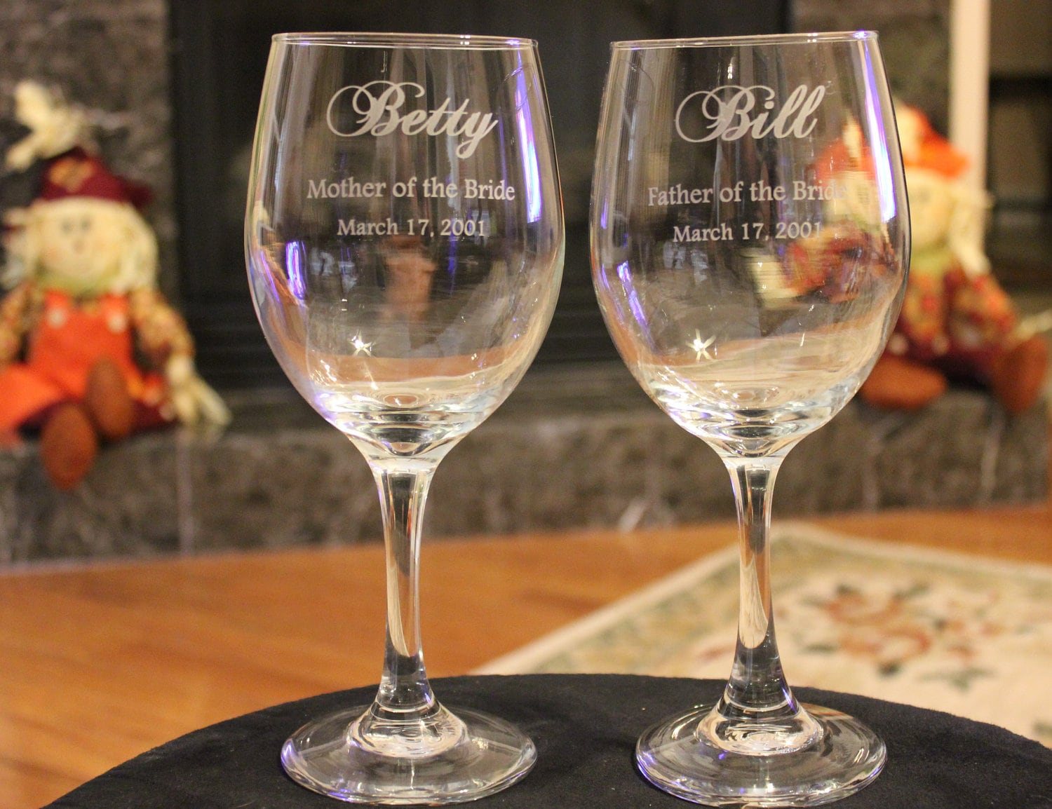 10 Wine Glass Set Wedding Party Engraved Parents of the