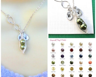 Personalized  Peas In A Pod Infinity Necklace With Hand Stamped Leaves Sterling Silver Mothers Necklace Friendship Necklace