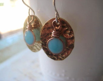 Turquoise Brass Earrings, Mixed Metals, Pure Brass, Sterling Silver, Aqua Resin, Textured Brass, Aqua Blue, Brass Oval, BOHO Style