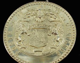 Antique Poste De Mr Le Duc de Chaulnes  Crest French Nobility Medallion Sterling