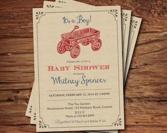 Retro Wagon baby shower invitation. Rustic burlap. Vintage toy wagon baby boy shower invite. It's a boy. Printable digital invite. B134