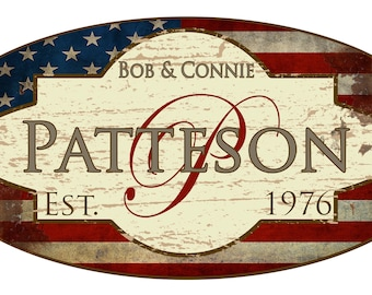 Custom Made Vintage Patriotic Family Name Metal Sign