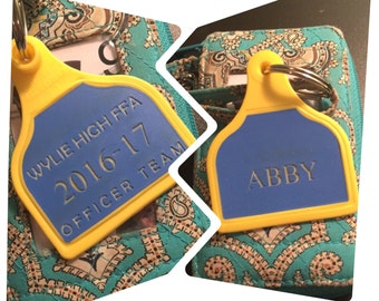Personalized Lamb/Sheep size eartag in FFA colors  can be customized to your liking
