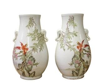 30%OFF SALE Pair Chinese Oriental Ceramic White Flower Bird Vases cs3007E