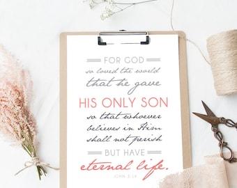 John 3:16 - Bible Verse Art - Typographic Print - Scripture Wall Decor -  Christian Art - Religious Typography
