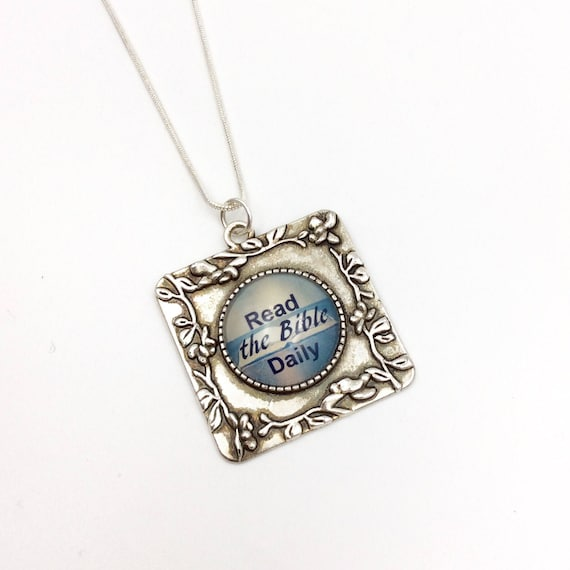 """JW Square Pendant """"Read God's Word Daily"""" glass in Antique Silver tone with chain and Blue Monkey Gallery Gift Bag! Great JW gift #7"""