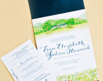 Watercolor Digital Invitation Suite with Custom Sticker