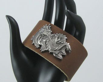 Brown Leather Cuff with Antiqued Pewter Asian Dragon, Leather Dragon Cuff, Dragon Bracelet, Fantasy Cuff, Leather Bracelet, Dragon Bracelet