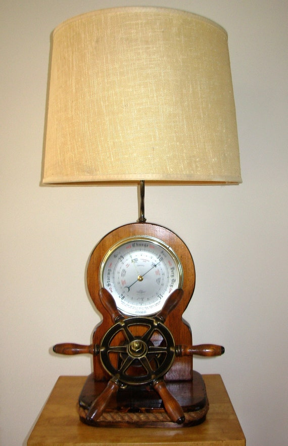 Vintage Shortland Barometer Nautical Lamp With Ship\'s
