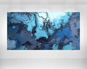 """Large Abstract Blue Acrylic Painting on Wood Panel with Resin 36""""x48"""" Made to Order by Ana Monsanto"""