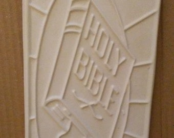 Holy Bible Wall hangings, Plastercraft DIY Plaque, Chalkware Stained Glass Bible, Vintage Chalkware