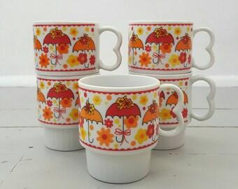 Umbrella Coffee Mugs Set of 5 Orange Yellow made in Japan