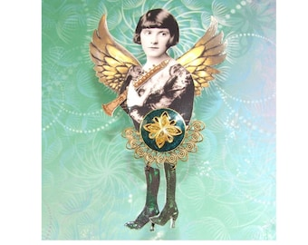 "Button Art Doll Brooch, Original Mixed Media Wearable Art - ""Retha Landry"""