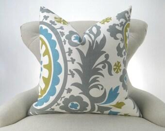 Suzani Pillow Cover -MANY SIZES- Gray Blue Green Summerland floral-  decorative throw euro sham custom cushion modern contemporary