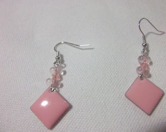 Pink square earrings enameled