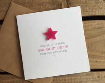Welcome to the World: My New Little Sister from your Big Brother(s) Card with detachable magnet keepsake