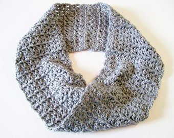 Crochet Cowl, Gray Short Cowl, Infinity Scarf, Heather Gray Scarf, Mobius Scarf