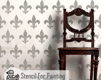 FLEUR DE LYS Stencil - French Medieval Repeat Wallpaper Wall Floor Furniture Craft Stencil for Painting - FLEU01