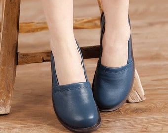 SALE! 4 Colors! Handmade Women Shoes, Flat Leather Shoes for Women,Casual Shoes,Comfortable Soft  Shoes,Personal Shoes