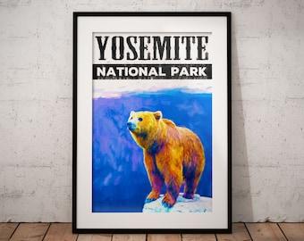 Yosemite National Park Poster Print, Bear Painting, California bear poster, grizzly bear painting, yosemite poster, yosemite wall art