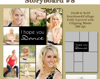 INSTANT DOWNLOAD - 16x20 Storyboard Collection 2, Collage 8 - custom 16x20 and 8x10 photo collage/storyboard template for photographers