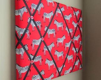 "16""x20"" Red Zebra Memory Board, Bow Holder, Ribbon Board, Organizer, Vision Board, Dream Board, Photo Display, Business Card Holder"