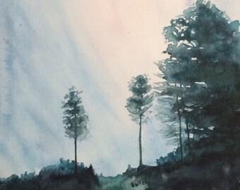 Landscape painting, landscape watercolor, tree painting, Tree watercolor, tree landscape, Watercolor trees, watercolor painting, trees
