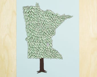 Minnesota Grown - MN Tree Screen Print Poster