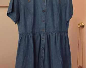 Denim Dress with Rose Appliques