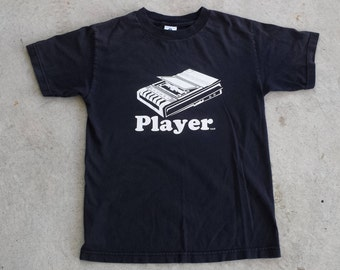 """Vintage 1990's """"Player"""" Cassette T Shirt / Tee / Ironic / Humor (S) Tape Recorder"""