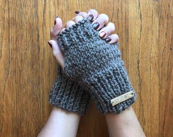 Brown-grey fingerless gloves, arm warmer, hand warmer, knitted gloves