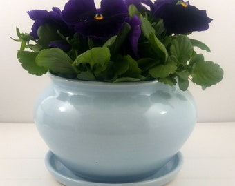Blue Tabletop Planter with Attached Saucer