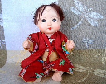 Vintage Asian Doll / Made in Japan / Red Kimono / Traditional Outfit / Asian Child / Baby Doll / Fully Jointed