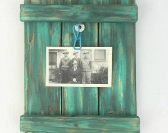 Rustic Distressed Turquoise Picture Clip Wall Frame