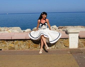 Pinup dress 'Sailor Girl White' navy dress, sailor dress, nautical rockabilly dress