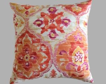 Tangerine Orange Yellow Outdoor Throw Pillow Cushion Cover // Patio Pillow // 20X20 18X18 16X16 Lumbar // P. Kaufmann Designer