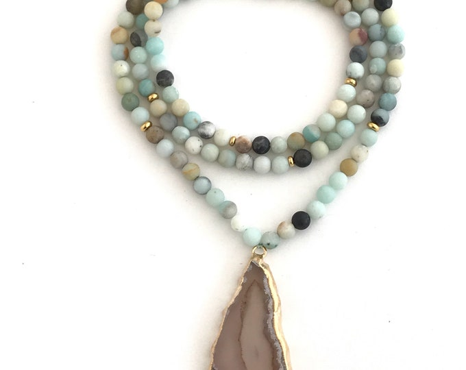 mini amazonite necklace with gold agate pendant