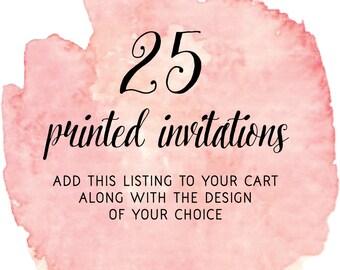 Set of 25 Printed Invitations