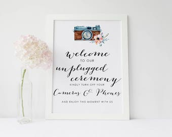 Welcome to our unplugged Ceremony No phone/camera Request Wedding Sign-two colours/sizes-Frame not included-FREE UK POSTAGE