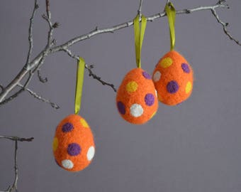 Easter Eggs SetOf 3 Felted Easter Eggs Orange Dotted Eggs Easter Decor Easter Home Decor Easter Ornaments Handmade Eggs Needle Felted Eggs