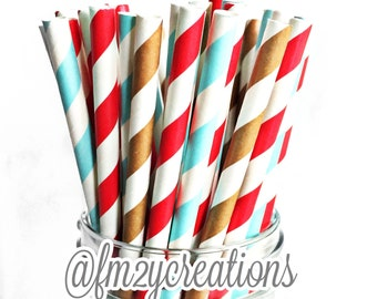 Sock Monkey Party: (50) Sock Monkey Paper Straws, Red Paper Straws, Blue Paper Straws, Brown Paper Straws, Sock Monkey, Birthday Party