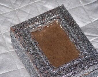 glitter box, trinket box, silver glitter, photo holder