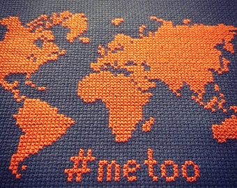 metoo world map cross stitch pattern instant download PDF