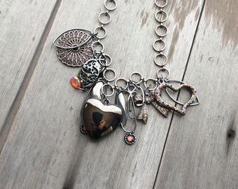 All Heart Necklace, statement necklace, heart, love