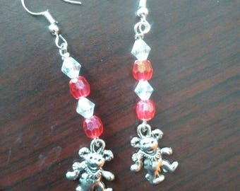 Clown bear bead earrings