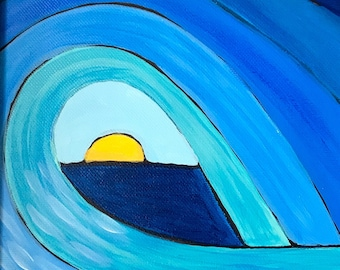 Tunnel Of Light, Original Acrylic Painting On Canvas. Waves. Whimsical painting.