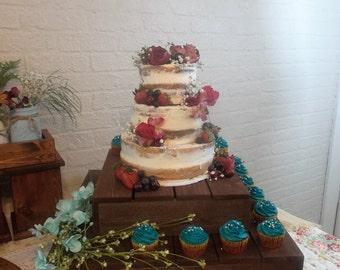 Chocolate Rustic Set of 3 Square Wood Cake Stand Cupcake Display Riser Display