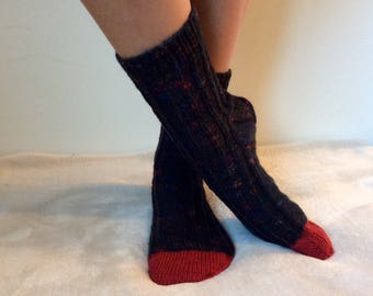 US Woman's sizes 8, 9, 10. Euro sizes 38, 39, 40, 41. -Hand Knit- Black and Red Speckled Socks.