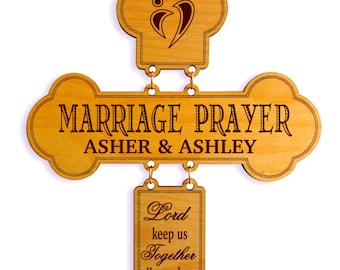 Personalized Wedding Anniversary Gift for Husband or Wife - Marriage Prayer Cross - Wedding Gifts for Couple from Pastor.