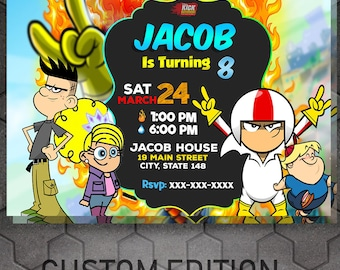 Kick Buttowski Invitations, the boy invitations, Party invitations, birthday kids